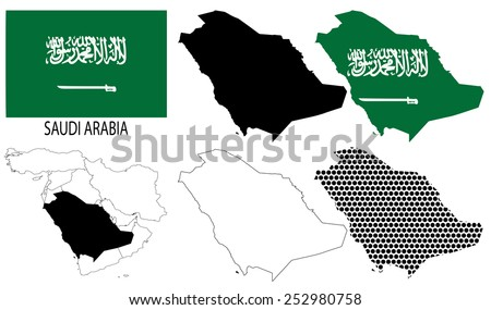 Saudi Arabia - Flag, four vector map contours and Middle East map - stock vector
