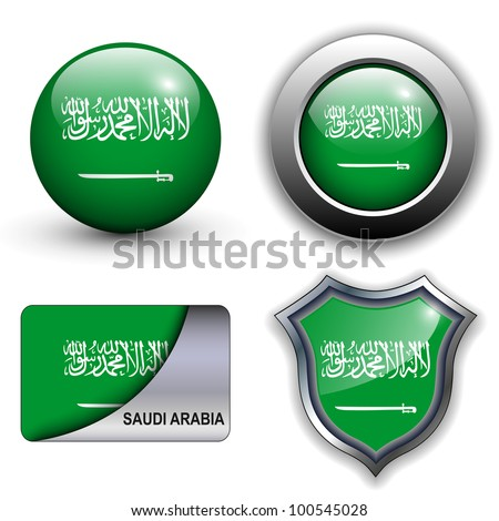 Saudi Arabia flag icons theme. - stock vector