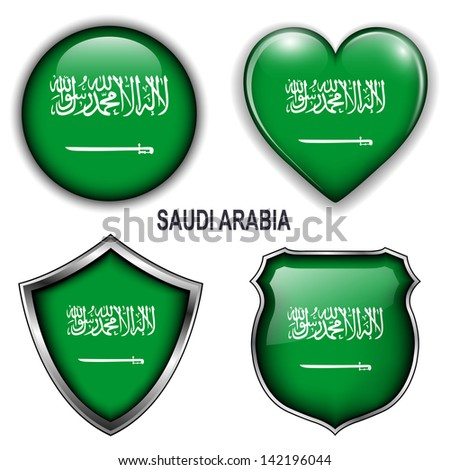 Saudi Arabia flag icons, vector buttons.  - stock vector