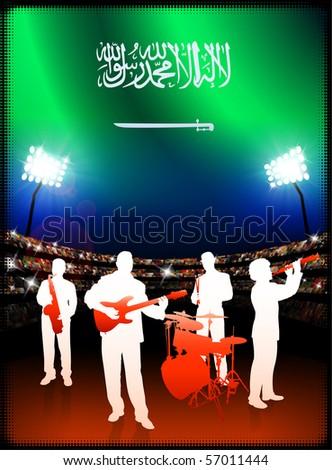 Saudi Arabia Flag with Live Music Band on Stadium Background Original Illustration - stock vector