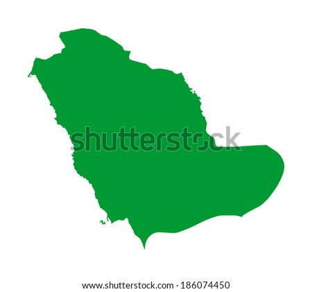 Saudi Arabia green vector map silhouette isolated on white background. High detailed illustration. - stock vector