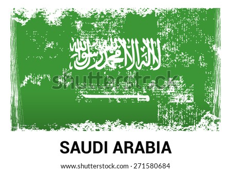 Saudi Arabia grunge flag isolated vector in official colors and Proportion Correctly. country's name label in bottom