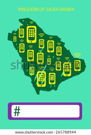 Saudi Arabia Hand Sketched Map with Phones. Social Network concept with Empty Hashtag Template. Editable EPS10 Vector and jpg Illustration  - stock vector