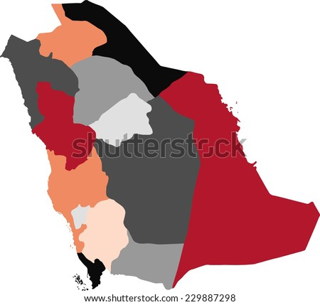 Saudi Arabia political map with pastel colors.