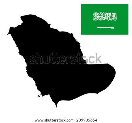 Saudi Arabia vector map and vector flag silhouette isolated on white background. High detailed illustration.  - stock vector