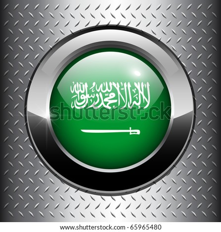 Saudi Arabian flag button on metal background, vector. - stock vector
