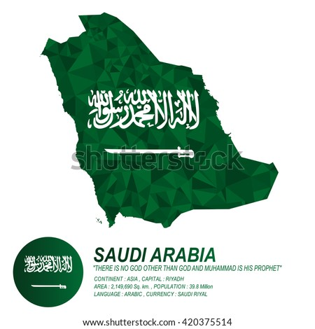 Saudi Arabian flag overlay on Saudi Arabian map with polygonal style.(EPS10 art vector) - stock vector