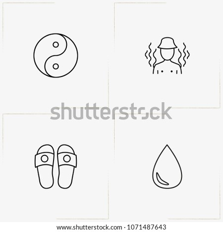 Sauna Spa Line Icon Set Slippers Stock Vector 1071487643 Shutterstock
