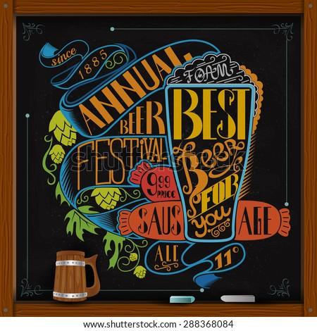 Sausage glass of beer hop and annual beer festival lettering. Beer color menu on black chalkboard  - stock vector