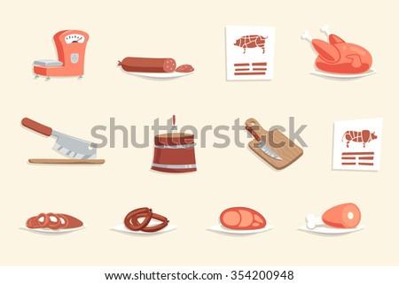 Sausage Hotdogs Meat Butcher Shop Retro Vintage Cartoon Design Icon Set Vector Illustration - stock vector