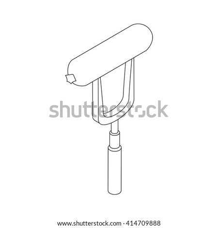 Sausage on a fork icon, isometric 3d style - stock vector