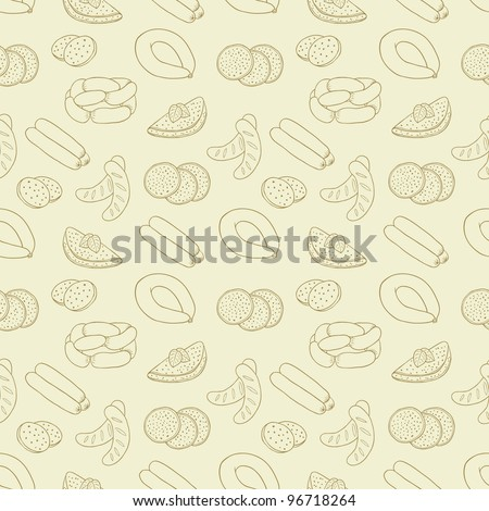 sausage seamless background - stock vector