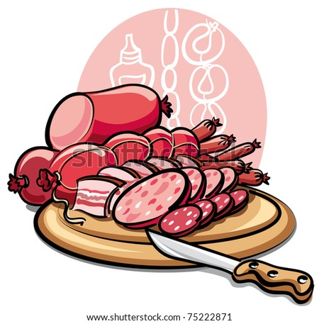 sausages and ham - stock vector