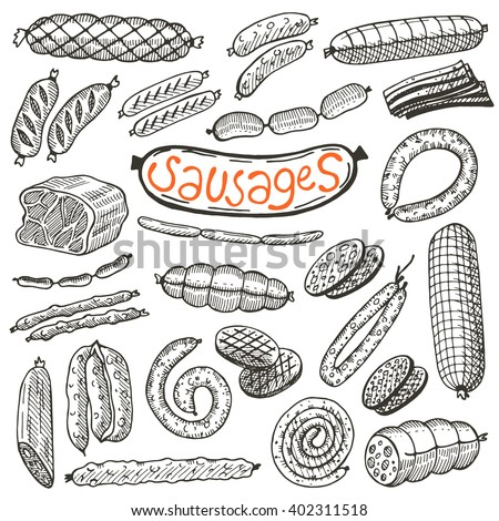 Sausages set. Hand drawn vector illustrations. Freehand food icons for restaurant menu or food package design. - stock vector