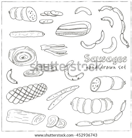 Sausages set Vintage illustration for design menus, recipes and packages product Vector collection of sketches isolated on white background