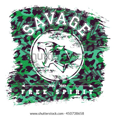 Savage. Vector illustration with the slogan for t-shirts, posters, card and other uses