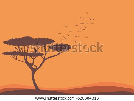 Savannah landscape, acacia tree and birds vector nature illustration
