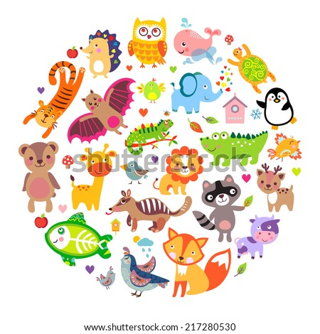 Save animals emblem, animal planet, animals world. Cute animals in a circle shape  - stock vector