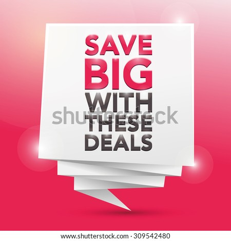 SAVE BIG WITH THESE DEALS, poster design element - stock vector