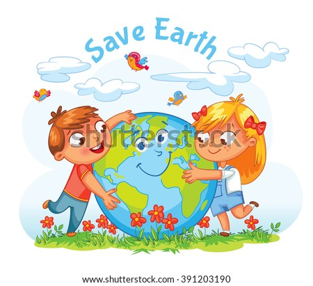 Save Earth. April 22 - Earth Day. Boy and girl hugging the Globe. Funny cartoon character. Vector illustration. Isolated on white background - stock vector