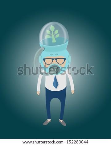 save Earth,Men wear a respirator,eps 10 vector - stock vector