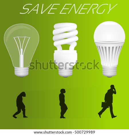 Save Energy Concept Evolution Incandescent Lamp Stock ...
