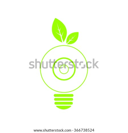 Save energy concept with put switch inside light bulb and green leaf, isolated background, green color, vector illustration - stock vector