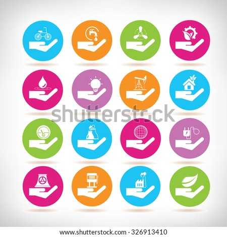 save energy icons, ecology icons - stock vector