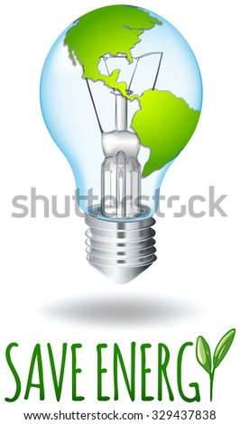 Save energy theme with earth on lightbulb illustration