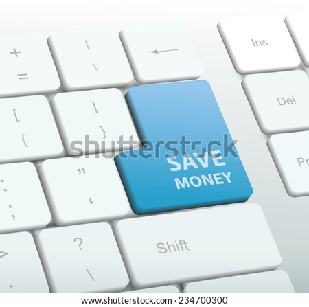 Save money blue button on computer keyboard. Vector Illustration.