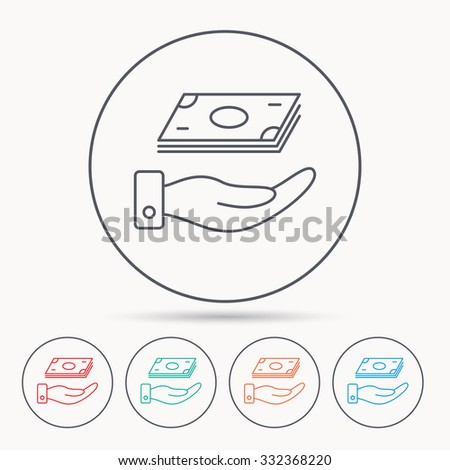 Save money icon. Hand with cash sign. Investment or savings symbol. Linear circle icons. - stock vector