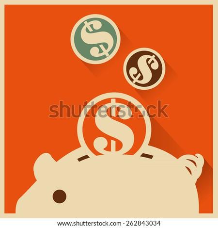 Save money into piggy bank - stock vector