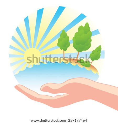 Save nature. Concept. Hand of holding circle of nature. Safe water, soil, trees, sunshine. - stock vector