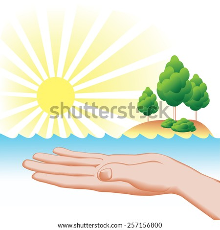 Save nature concept. Palm up protecting water, soil, tree, sunshine. - stock vector