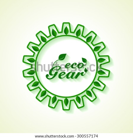 Save Nature concept with gear and leaf- vector illustration