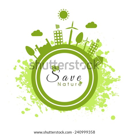 Save Nature concept with illustration of urban city on sticker and green splash on white background. - stock vector