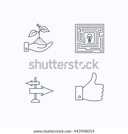 Save nature, thumb up and direction icons. Problem challenge, like linear signs. Flat linear icons on white background. Vector - stock vector