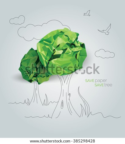 Save Paper Save Tree - Save Paper Conceptual Illustration - Save Tree Conceptual Illustration - stock vector