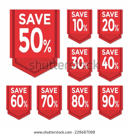 Save percent sticker price tag - stock vector