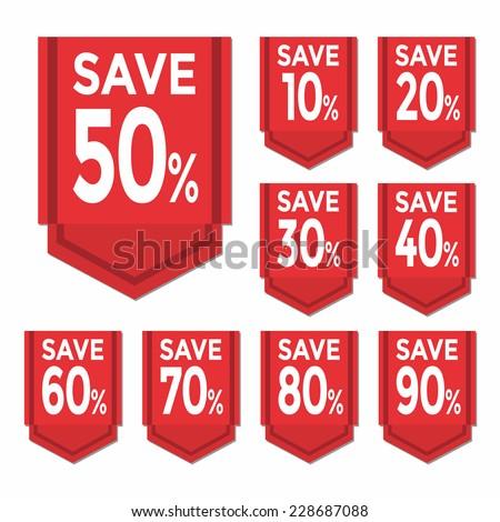Save percent sticker price tag - stock vector
