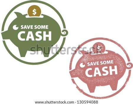 Save Some Cash Piggy Savings Bank - stock vector