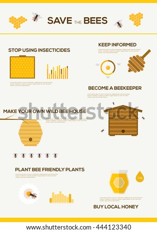 Save the Bees infographics . Flat design vector concept illustration organic natural honey bee   - stock vector