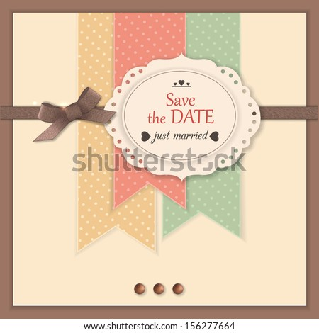 Save the date background with scrapbook elements. Modern handmade / paper craft design. This vector illustration can be also used as greeting card or wedding invitation. - stock vector