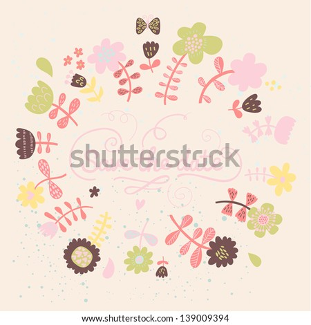 Save the date card in pastel colors. Cartoon vector flowers on invitation card. Floral background - stock vector