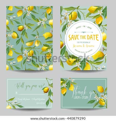 Save the Date Card. Lemon, Leaves and Flowers. Wedding  Invitation. RSVP. Vector - stock vector