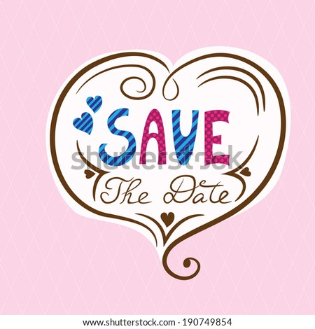Save the date card on seamless background - stock vector