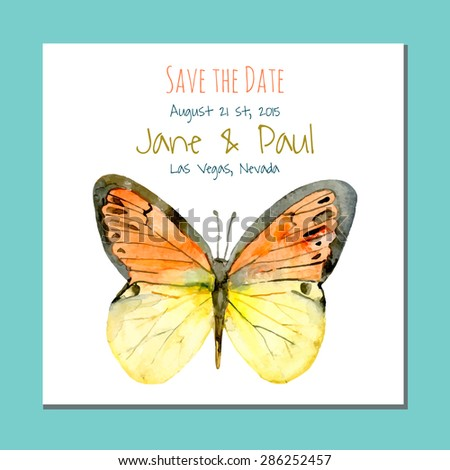 Save the date card. Vintage watercolor wedding illustration with butterfly.