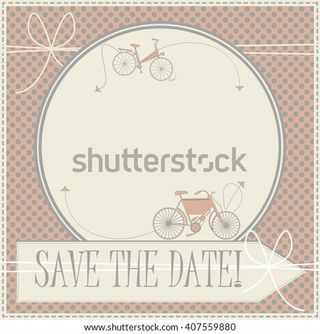 Save the date card with cute bicycles can be used for wedding invitation, greeting card , baby shower invitations and more creative designs. - stock vector