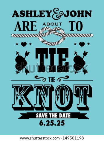 Save the Date Card With Tying of the Knot Design