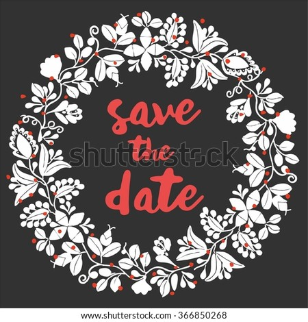 Save the date card with vector wreath